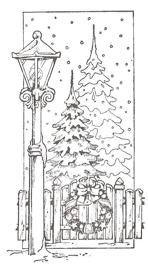 Две еллки за забором, рождественский венок на заборе, горящий фонарь возле забора, подающий снег Зимние раскраски для мальчиков