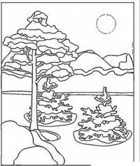 Зимний день в лесу Раскраски зима распечатать бесплатно