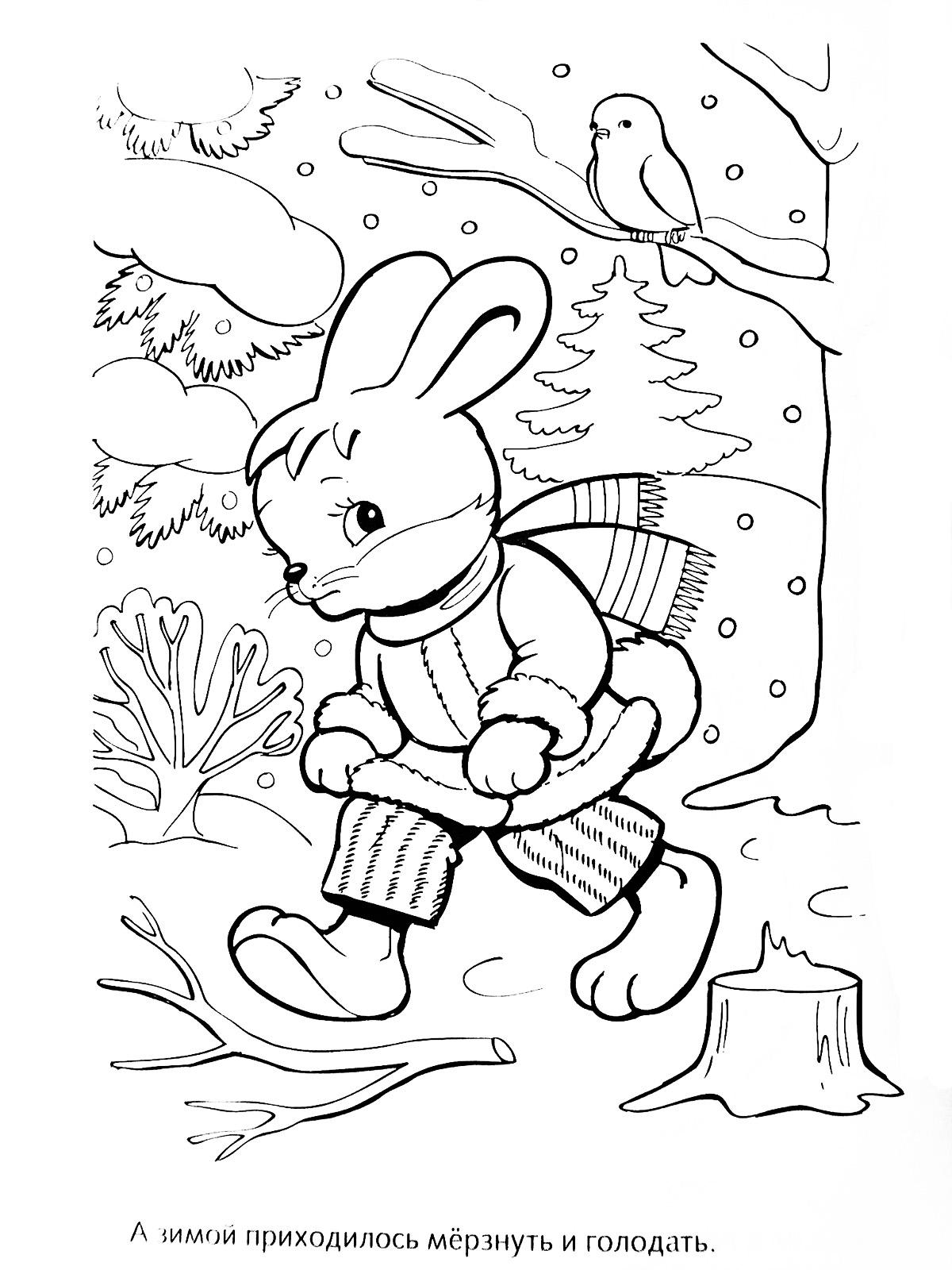 Заяц идет по лесу Детские раскраски зима распечатать