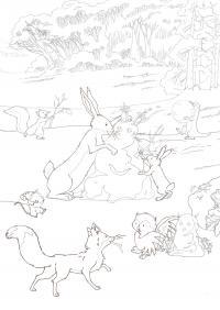 Лиса и звери играют в лесу Раскраска зима