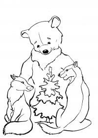 Лиса медведь и волк возле елки Раскраска зима