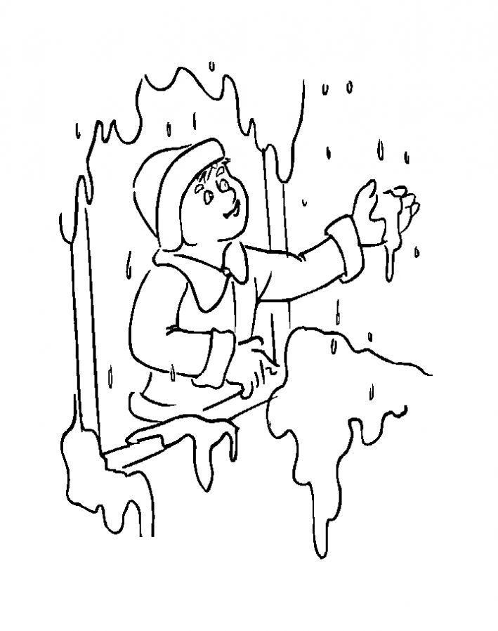 Тает снег Детские раскраски зима распечатать