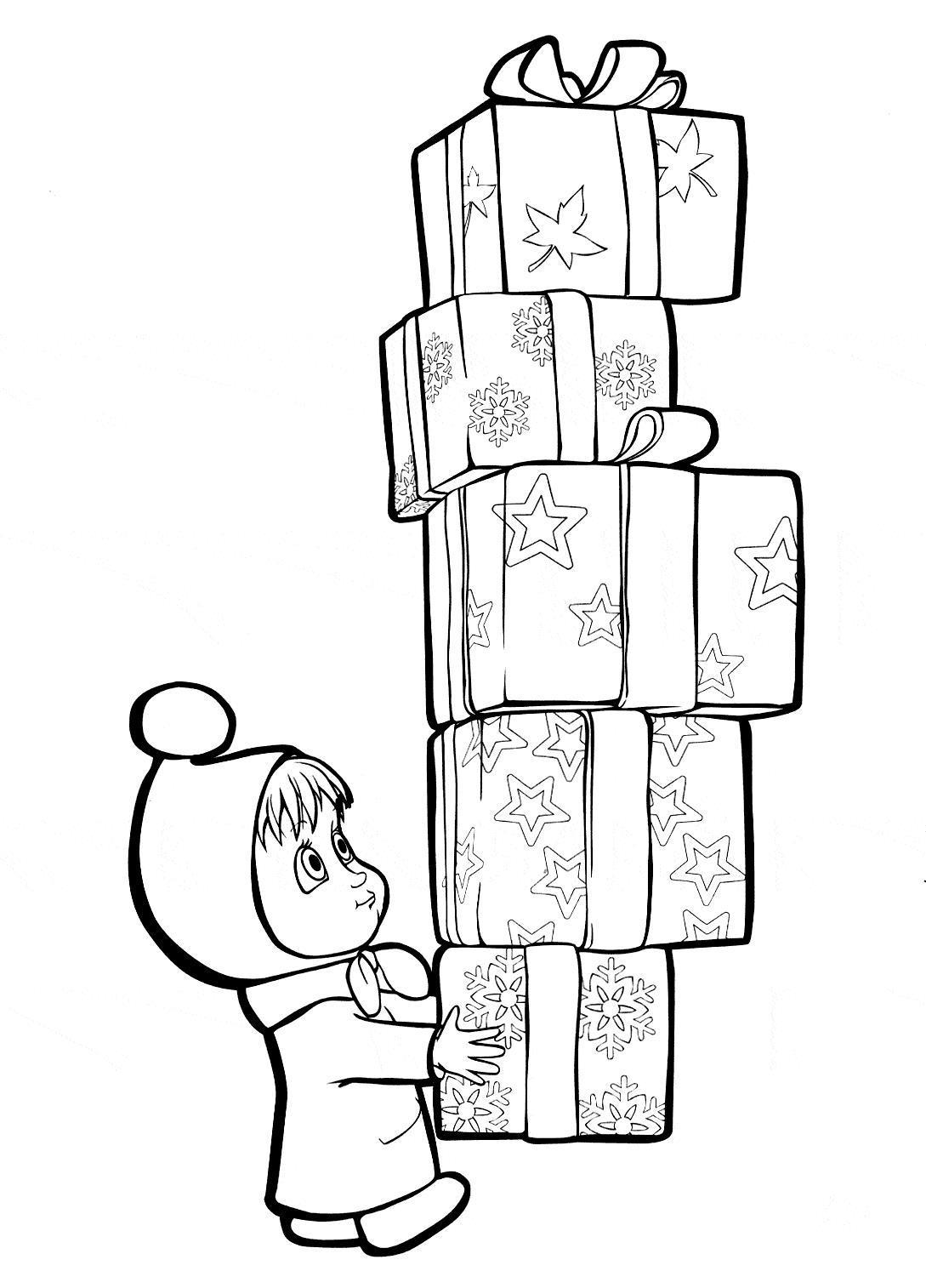 Маша с подарками к новому году Раскраски зимушка зима
