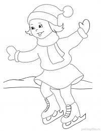 Каток Зимние рисунки раскраски