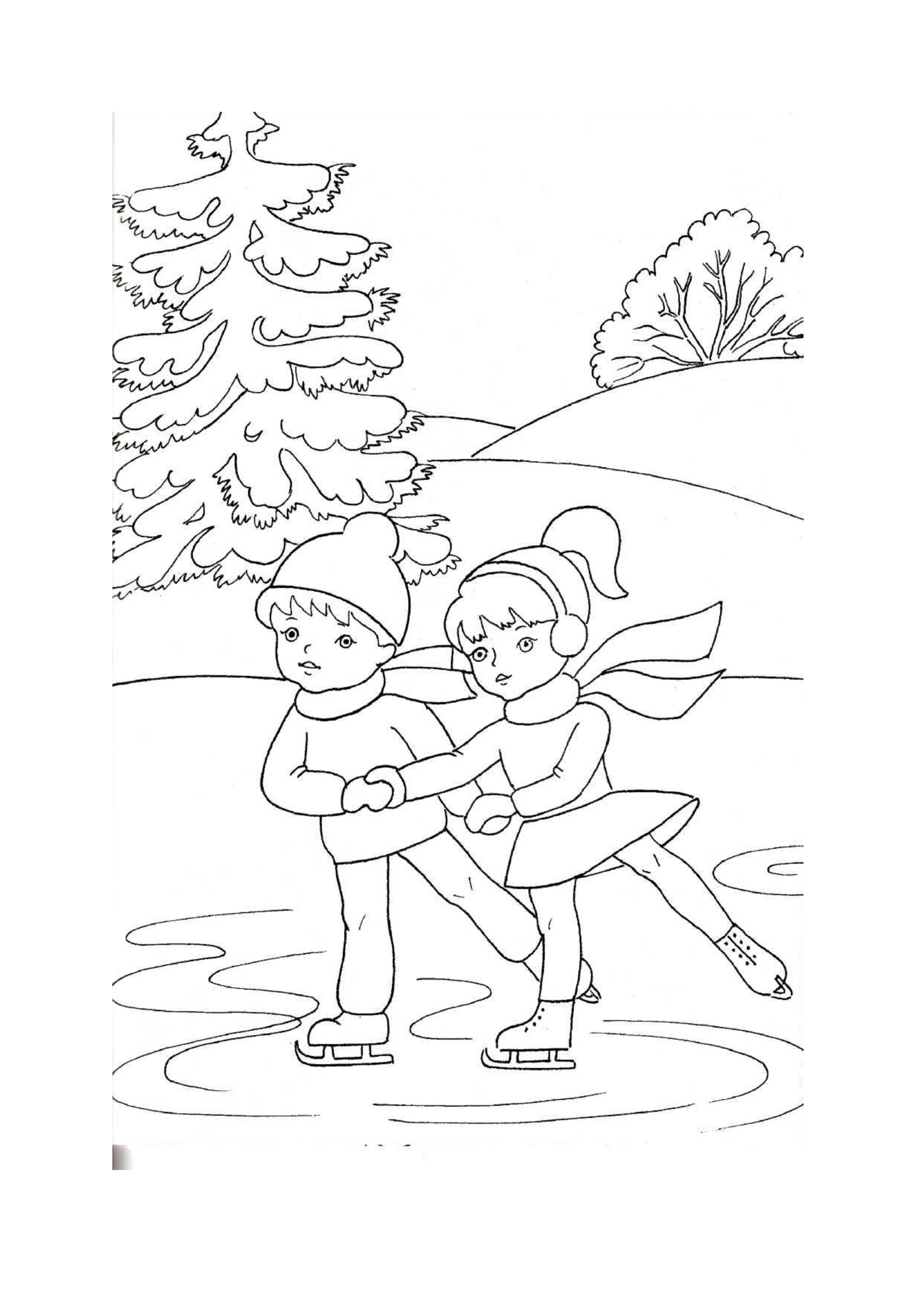 Раскраски дети на коньках для детей