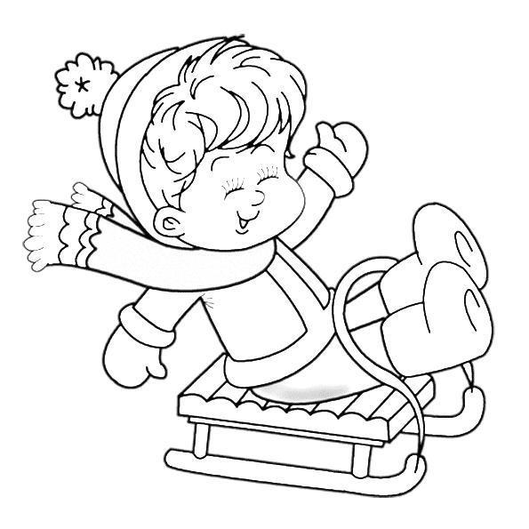 Забавы на санках Детские раскраски зима распечатать