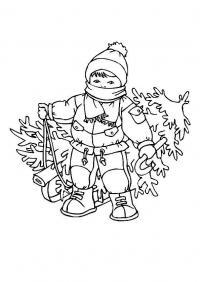 Мальчик привез елочку на санках домой Детские раскраски зима распечатать