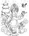 Снегурочка в лесу Детские раскраски зима распечатать