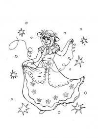 Девушка в шляпе Раскраски про зиму для детей