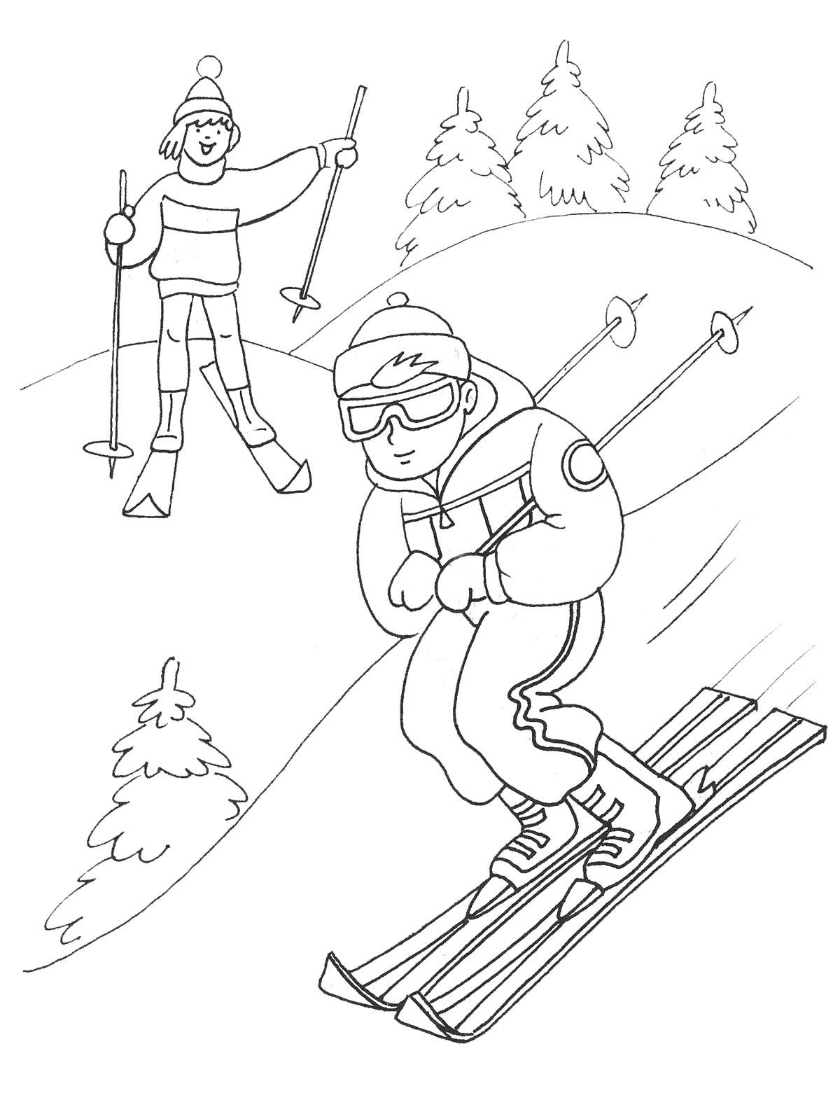 Раскраска лыжники