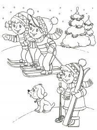 Дети с лыжами Детские раскраски зима распечатать
