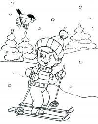 Мальчик на лыжах Детские раскраски зима распечатать