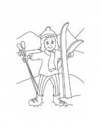 Девочка с лыжами Детские раскраски зима распечатать
