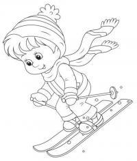 Малыш на лыжах Детские раскраски зима распечатать