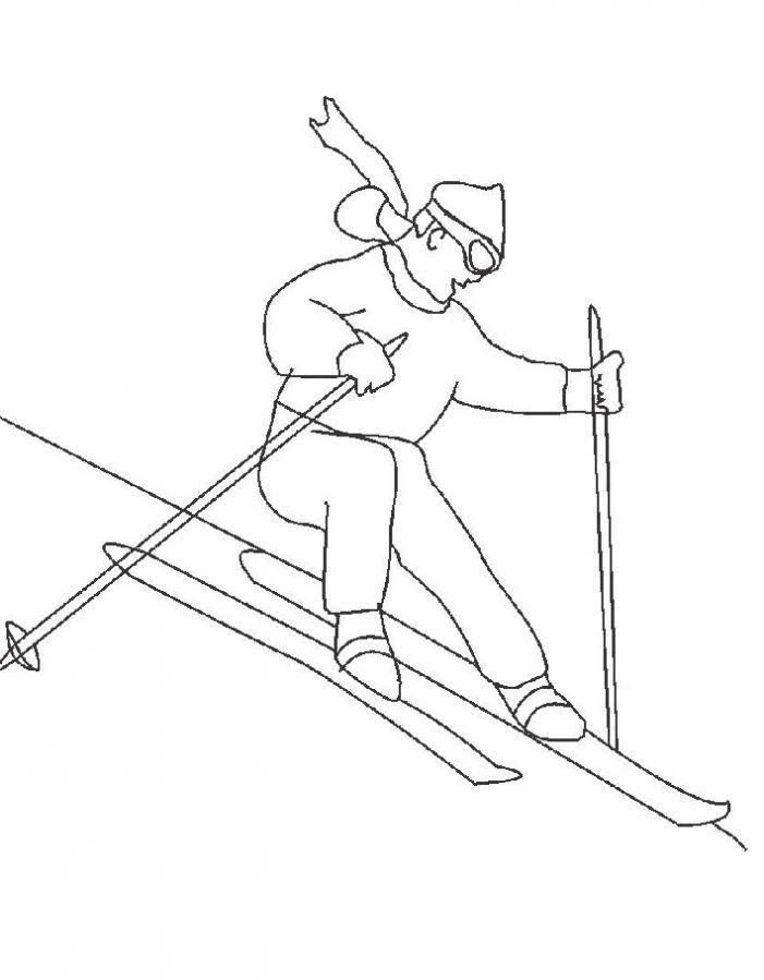 Лыжник Рисунок раскраска на зимнюю тему