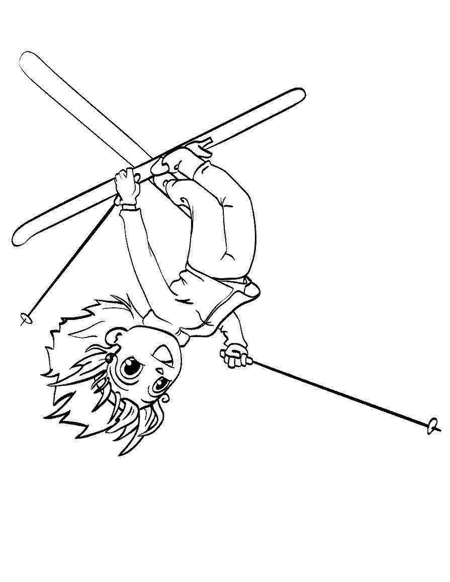 Прыжки с трамплина Рисунок раскраска на зимнюю тему