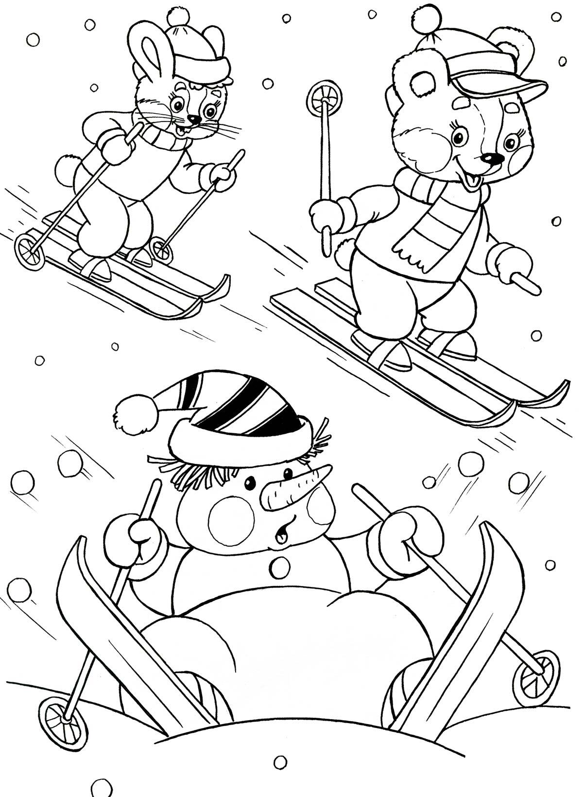Лыжник леса Рисунок раскраска на зимнюю тему