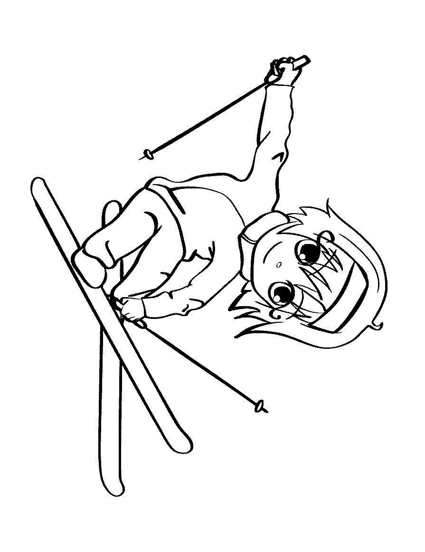 Лыжница, прыжок с трамплина Рисунок раскраска на зимнюю тему