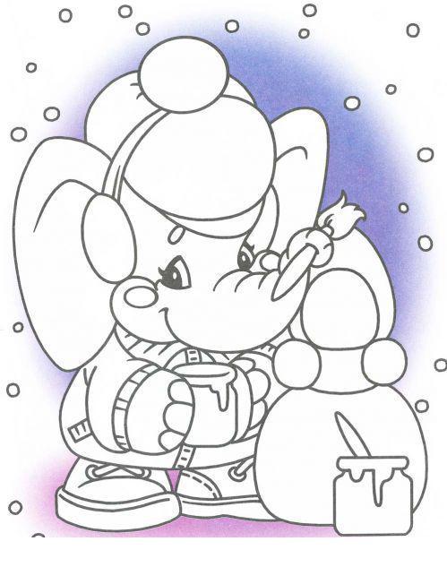 Слоник под снегом Раскраска сказочная зима