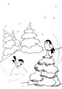Птицы на елках Детские раскраски зима распечатать