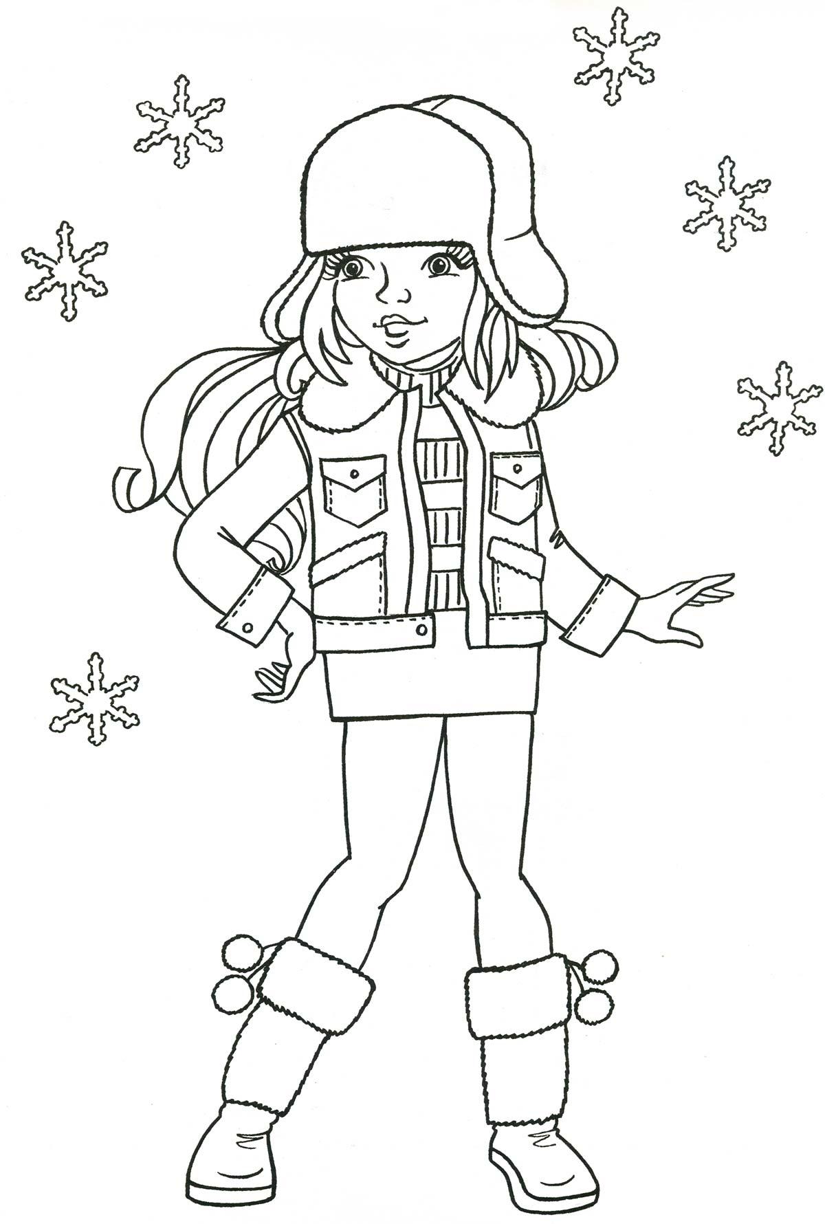 Девочка в окружении снежинок Детские раскраски зима распечатать