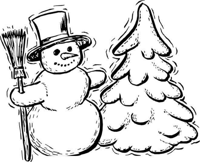 Снеговик и елка дрожат от холода Раскраски зима распечатать бесплатно