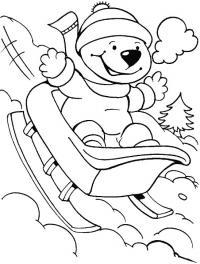 Катание на санках Детские раскраски зима распечатать
