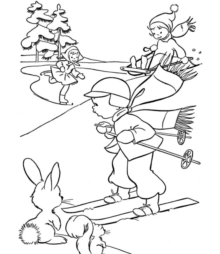 Зимние забавы Рисунок раскраска на зимнюю тему