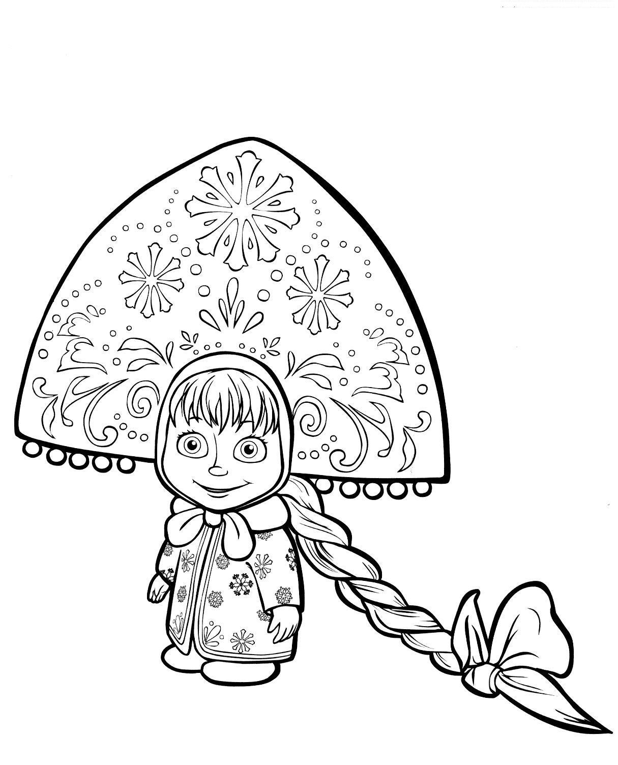 Маша в костюме снегурочки Раскраски зима скачать бесплатно