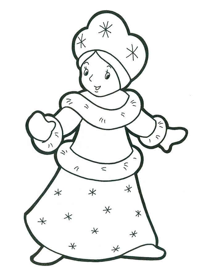 Снегурочка в снежинках Раскраски зима скачать бесплатно