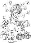 Снегурочка дарит подарки Раскраски зима скачать бесплатно