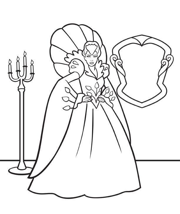 Снежная королева возле зеркала Детские раскраски зима распечатать