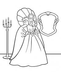 Снежная королева возле зеркала Зимние раскраски для мальчиков