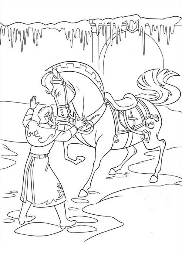 Принц успокаивает лошадь Зимние раскраски для девочек