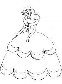 Принцесса в пышном платье Раскраски про зиму для детей