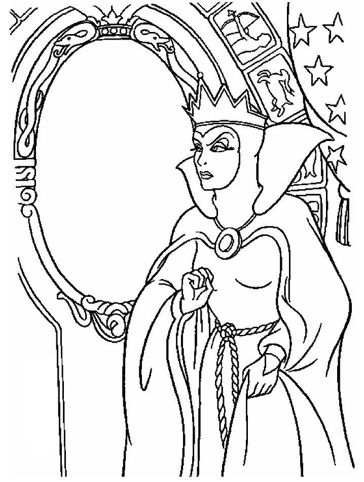 Снежная королева смотрит в зеркало Зимние раскраски для мальчиков