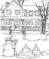 Снеговик возле дома Раскраска зима распечатать