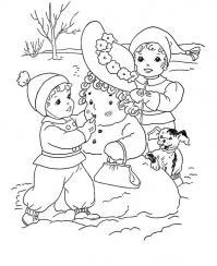Лепим снежную бабу Детские раскраски зима распечатать