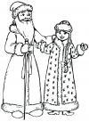 Снегурочка и дед мороз Раскраски зима скачать бесплатно