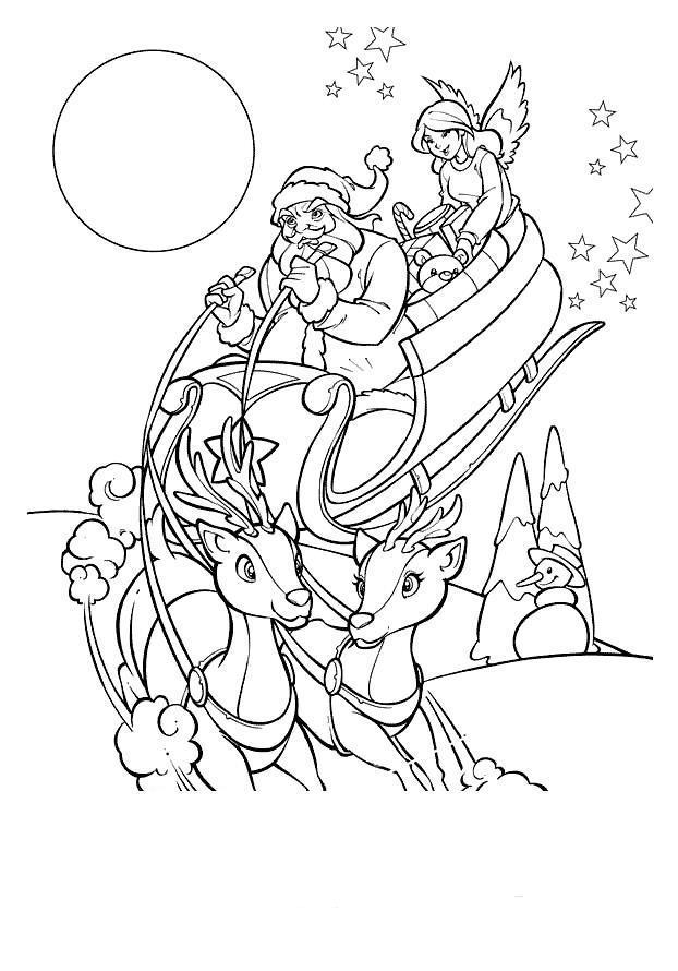 Дед мороз в оленьей упряжке Раскраски зима скачать бесплатно