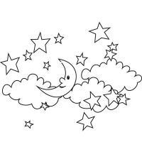 Звездная ночь Зимние раскраски для малышей