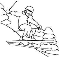 В прыжке с трамплина Рисунок раскраска на зимнюю тему