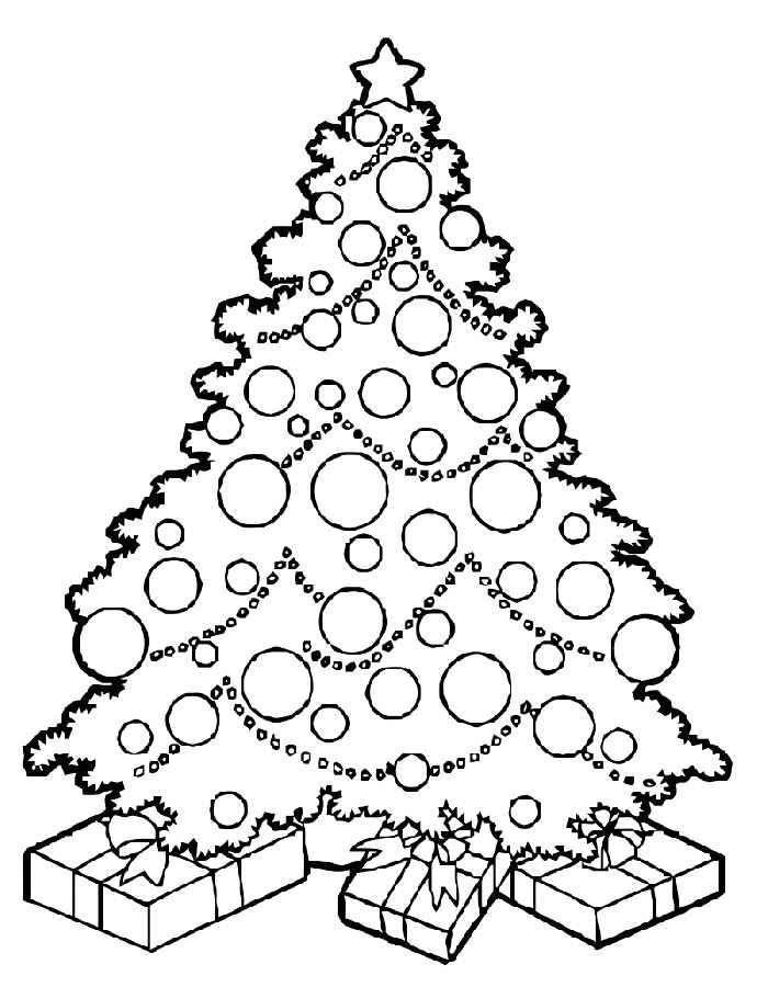 Раскраски елка с подарками