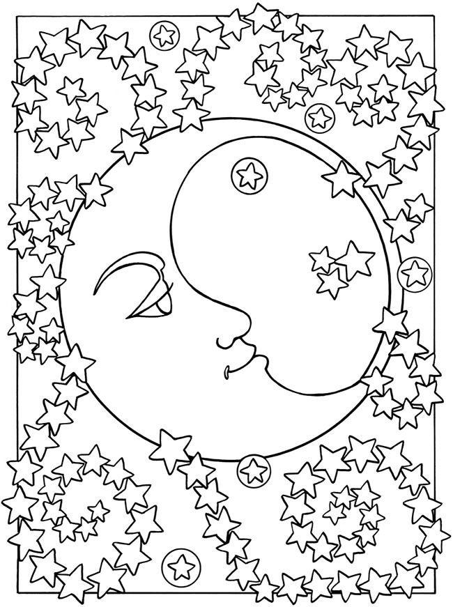 Месяц со звездами Раскраски зима распечатать бесплатно