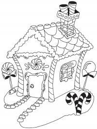 Избушка санта клауса Зимние раскраски для девочек
