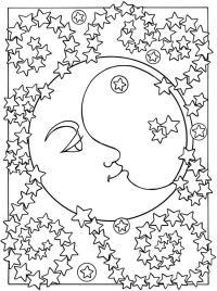 Месяц со звездами Детские раскраски зима распечатать