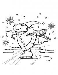 Медведица на коньках Раскраски про зиму для детей