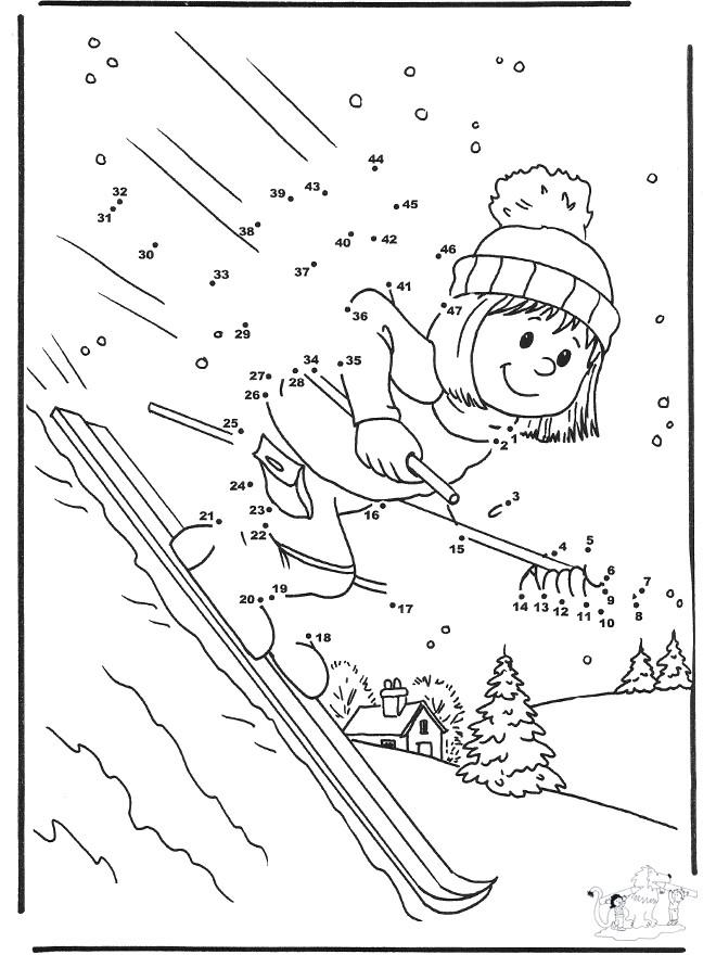 Спорт Раскраски про зиму для детей