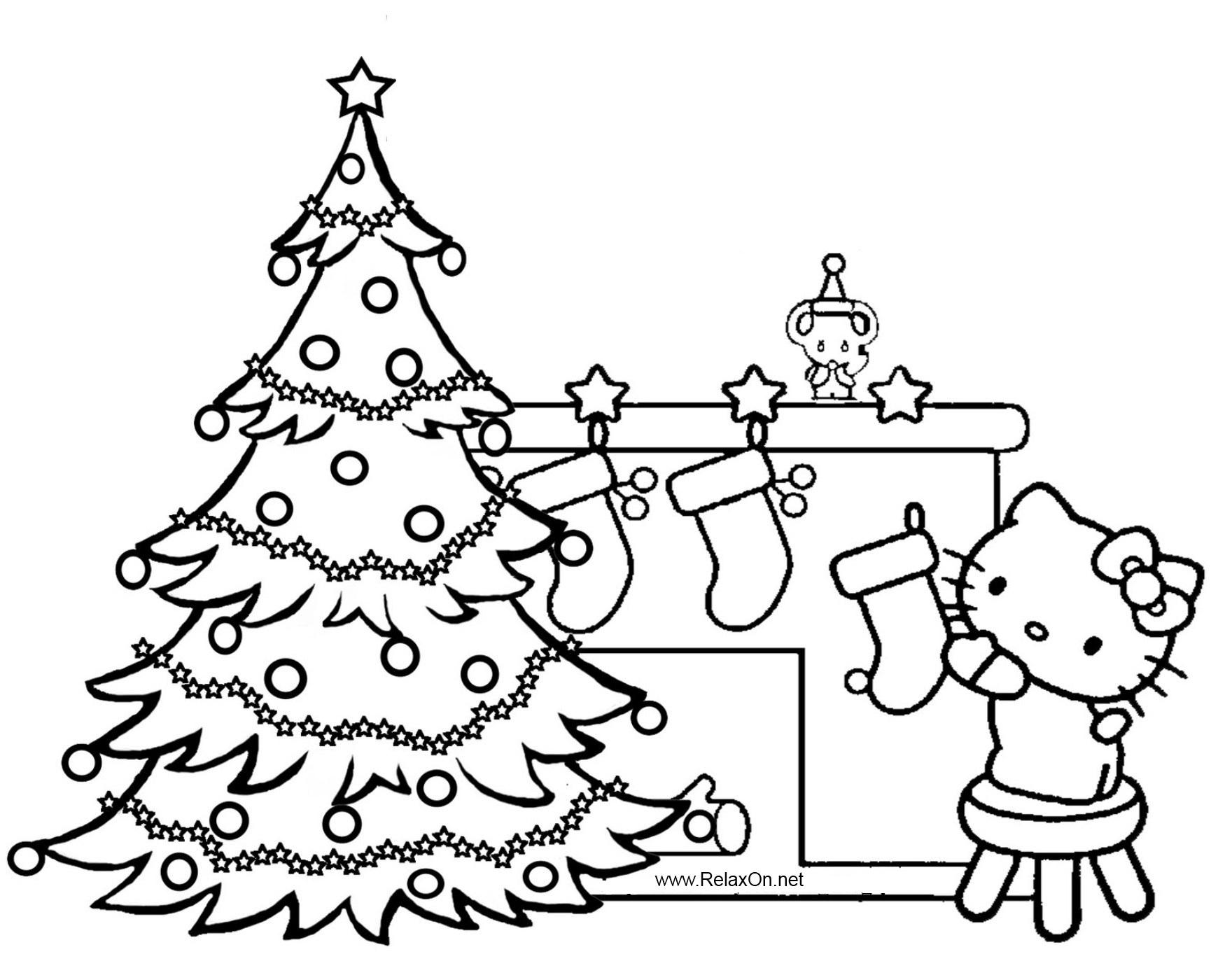 Новогодняя елка в гостях у китти Детские раскраски зима распечатать
