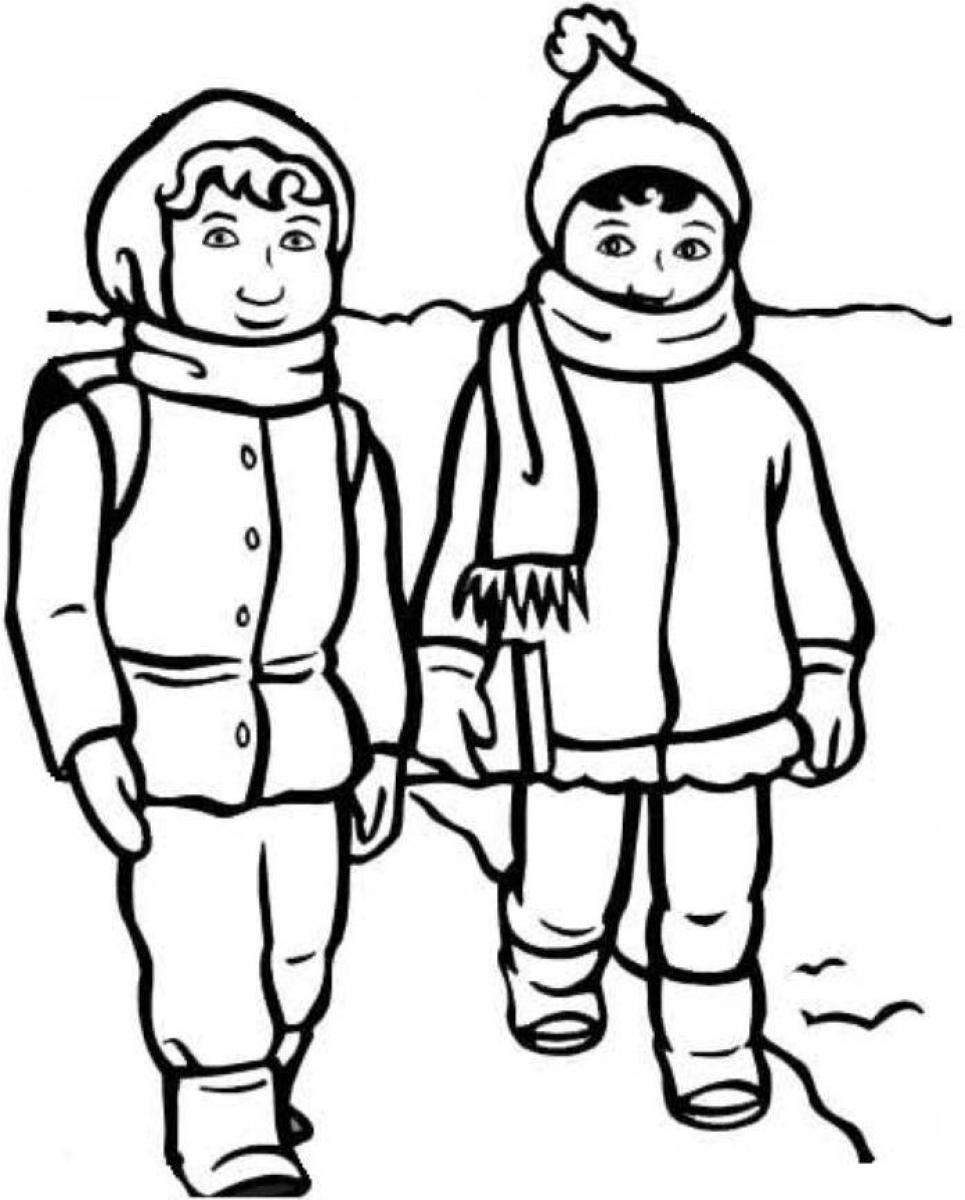 Поход в школу Раскраски на тему зима